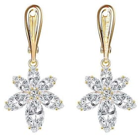 Jewels Galaxy Limited Edition Luxuria AAA Grade Quality Cubic Zirconia Floral Designer Earrings For Women/Girls