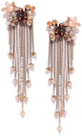 Jewels Galaxy Luxuria Edition Florets Design Oxidized Rosegold Swanky Onyx Tassel Earrings For Women/Girls