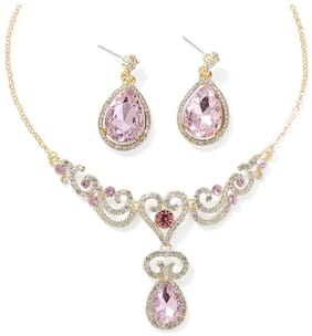 Jewels Galaxy Crystal Elements Elegant AD Incredible Design Gold Plated Stunning Pink Necklace & Earrings Set For Women/Girls