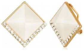 Jewels Galaxy White Luxuria Designer Earring Limited Collection Workwear