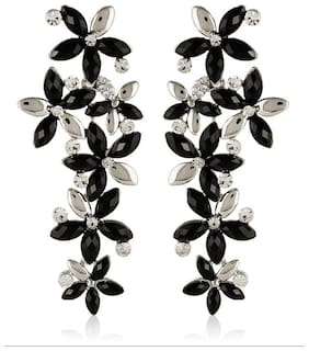 Jewels Galaxy Black-Silver Luxuria Designer Earring Limited Collection For Wedding
