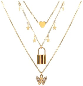 Jewels Galaxy Elite AD Butterfly Inspired Gold Plated Multi Layered Chain Necklace For Women/Girls