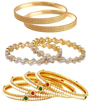 Jewels Galaxy Combo Of American Diamond  Bangles, Designer Pearls Bangles and Trendy Gold Plated Bangles - Pack Of 8