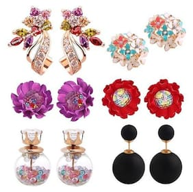 Jewels Galaxy Flowerets AD Multicolor Earrings And Rosegold Plated Cubic Zirconia Earrings With Multicolor Stud Earrings Combo
