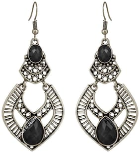 Jewels Galaxy Elegant Black Gemstone Stunning Designer Platinum Plated Chandelier Earrings For Wedding