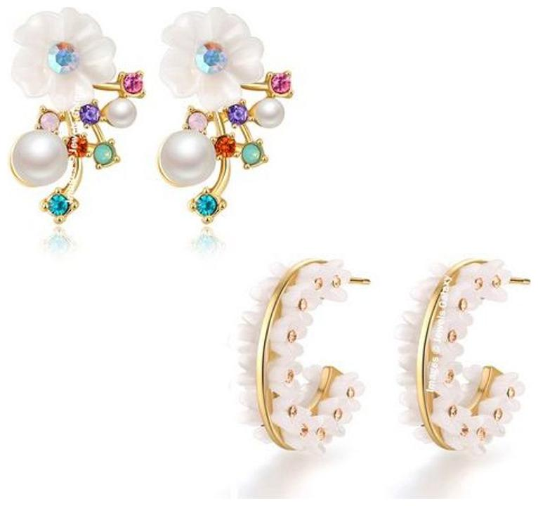 Jewels Galaxy Luxuria Edition Sparkling Floral Design Splendid Pearl   White Clip On Earrings Combo For Women/Girls  Pair Of 2