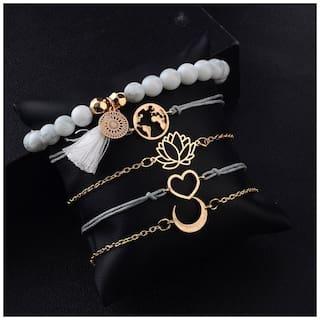 Jewels Galaxy Trendy Floral Heart Globe Multi Designs Splendid Bracelets For Women/Girls