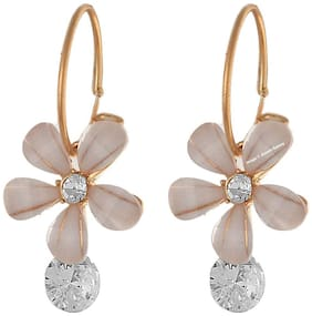 Jewels Galaxy Stunning Luxuria Floral Shaped Off-White American Diamond Drop Earrings