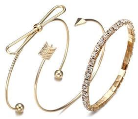 Jewels Galaxy Ravishing American Diamond Note Arrow Design Gold Plated Cuff Bracelet For Women/Girls (Pack of 3)