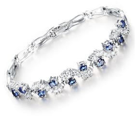 Jewels Galaxy Exclusive Rich Royal Blue Crystal Top Grade Charm Bracelet For Women/Girls