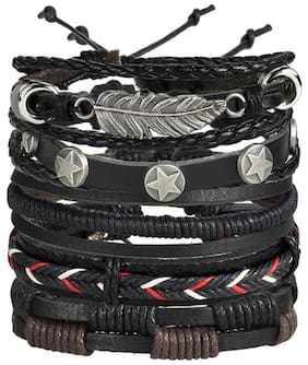 Jewels Galaxy Exclusive Black Artificial Stones Studded Multi-Strand Bracelet