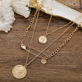 Jewels Galaxy Stylish Gold Plated Multi Strand Necklace For Women/Girls