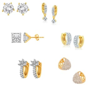 Jewels Galaxy Precious Curated Collection Of Fancy American Diamond Earrings - Combo Of 6