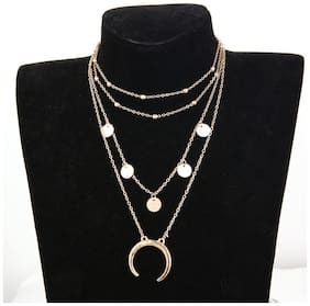 Jewels Galaxy Trendy Moon Triple Layered Statement Necklace For Women/Girls