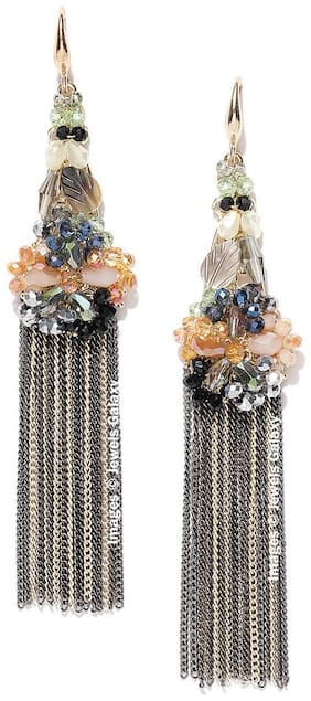 Jewels Galaxy Exclusive Luxuria Elegant Onyx Studded Gold Plated Mesmerizing Chain Drop Tassel Earrings For Women/Girls