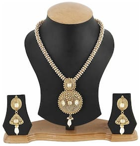 Jewels Galaxy Golden Designer Bridal Necklace Set