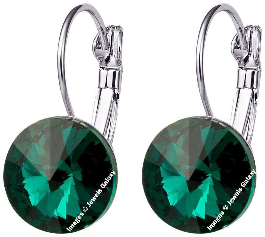 Jewels Galaxy Luxuria Limited Edition Stunning Green Crystal Clip On Earrings