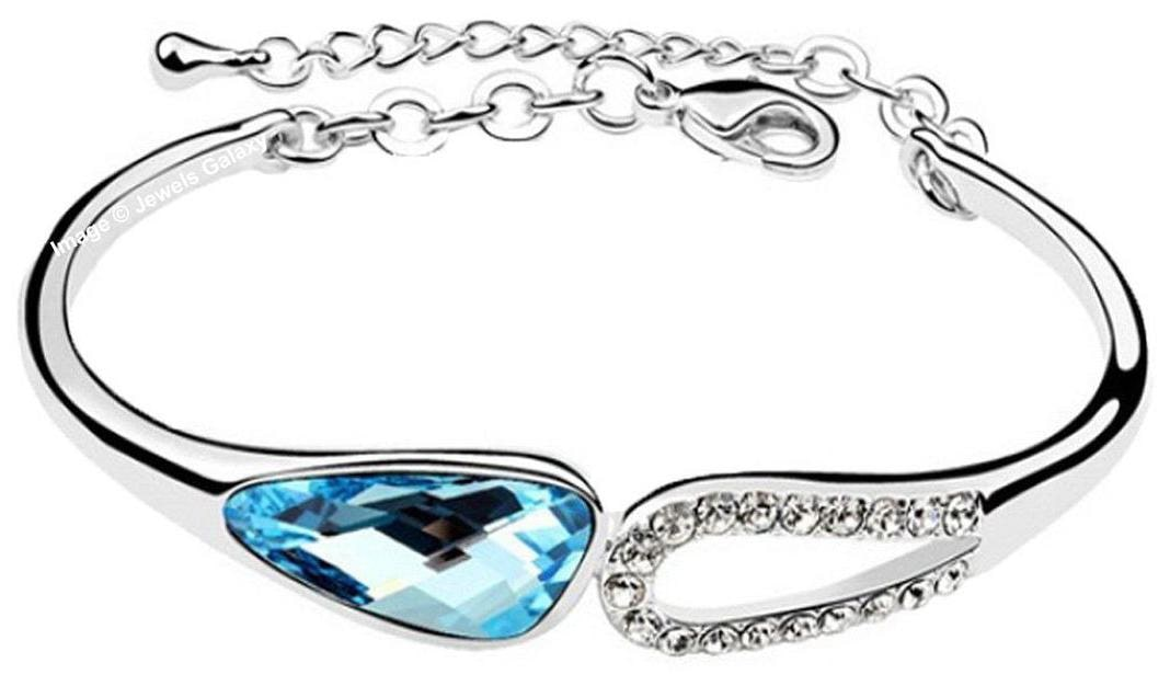 Jewels Galaxy Top Quality AD Platinum Plated Blue Crystal Bracelet by Jewels Galaxy