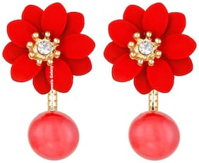 Jewels Galaxy Floral Exclusive AD Floral Design Red Earrings For Women/Girls