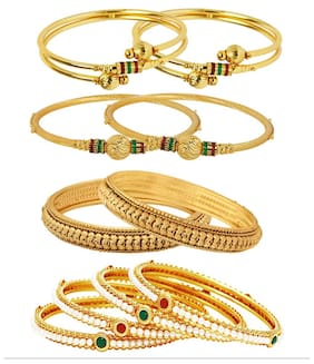 Jewels Galaxy Combo Of Designer Pearls Bangles, Trendy Gold Plated Bangles - Pack Of 10