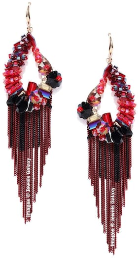 Jewels Galaxy Exclusive Luxuria Limited Edition Delicate Onyx Designed Maroon Color Amazing Tassel Earrings For Women/Girls
