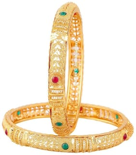 Jewels Galaxy Stunning Handcrafted Ruby & Green Gold Plated Bangle Set For Women- Set of 2
