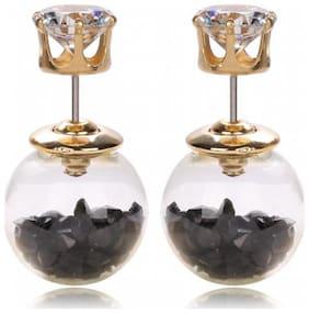 Jewels Galaxy Black Crystal Double Sided Stud Earrings