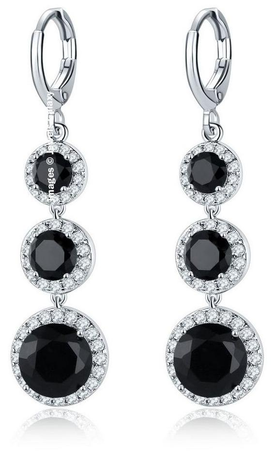 Jewels Galaxy Luxuria Limited Edition AAA Swiss Cubic Zirconia Platinum Plated Stunning Black Designer Drop Earrings For Women/Girls by Jewels Galaxy