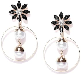 Jewels Galaxy Exclusive Luxuria Edition Splendid Floral Design AD & Pearl Alluring Gold Plated Black Drop Earring for Women/Girls
