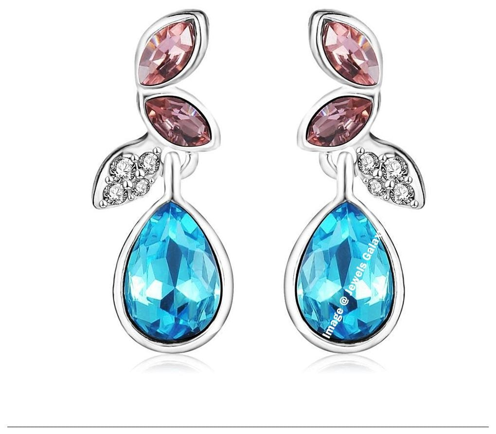 Jewels Galaxy Exclusive AD Sparkling Florets Multicolor Vine Swiss Cubic Zirconia Platinum Plated Hoop Earrings by Jewels Galaxy