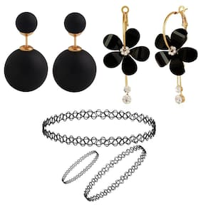 Jewels Galaxy Exclusive Black Color Candy And Floral Earrings Collection With Strechable Necklace, Bracelet And Ring
