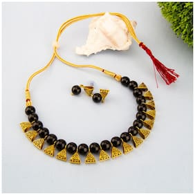 Jewels Galaxy Stylish Beaded Antique Fascinating Necklace Set For Women/Girls