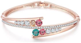Jewels Galaxy Colourful Exclusive Luxuria Sparkling Colors High Quality AAA Swiss Cubic Zirconia Multicolor Magnificent Designed 18K Rosegold Bracelet