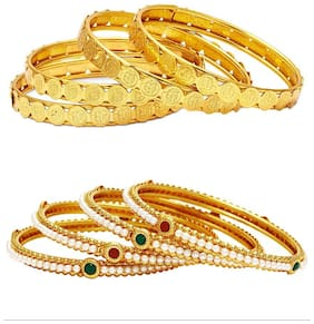 Jewels Galaxy Combo Of Broad Designer Pearls Bangles and Coinage Bangles - Pack Of 8
