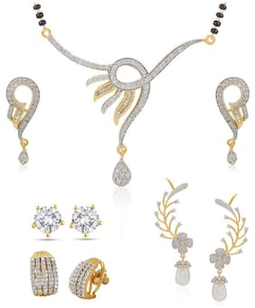 Jewels Galaxy Silver And Golden Combo Of jewellery Set