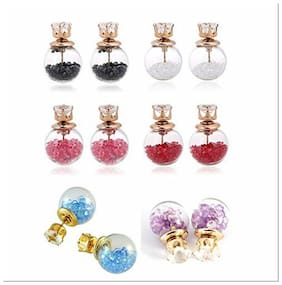 Jewels Galaxy Best-Selling Multi-Colour Earrings Combo Of 6 Two Sided Glass Earrings For Girls And Women ...
