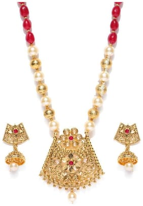 Jewels Galaxy Exclusive Intricate Floral Design Red Beads & Pearls Gold Plated Glorious Bridal Necklace Set For Women/Girls