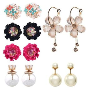 Jewels Galaxy Elegant Flowerets Earrings with Flowerets AD Multicolor Earrings & Stud Earrings Combo