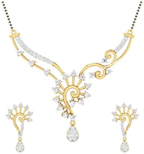 Jewels Galaxy Elegant Precious AAA American Diamond Mangalsutra with Earrings
