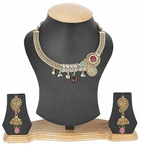 Jewels Galaxy Golden Designer Necklace Set With Maang Tika