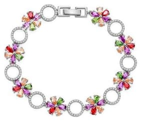 Jewels Galaxy Crystal Elements Exclusive Limited Edition Sparkling Floral Designed 18K Rosegold Plated Stunning Multi Silver Bracelet For Women/Girls