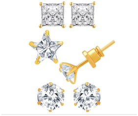Jewels Galaxy Gold-Plated Solitaire Studs Earrings For Women/Girls - Combo Of 3