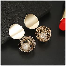 Jewels Galaxy Minimal Wonderful Hanging Ball Plushy Drop Earrings