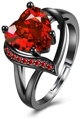 Jewels Galaxy Most Stylish Crystal Heart Black Silver Fabulous Ring For Women