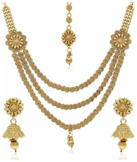 Jewels Galaxy Golden Alloy Necklace Set With Maang Tika
