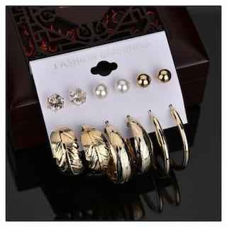 Jewels Galaxy Ravishing Leaf Pearl & AD Brilliant 6 Pair of Stud & Drop Earrings