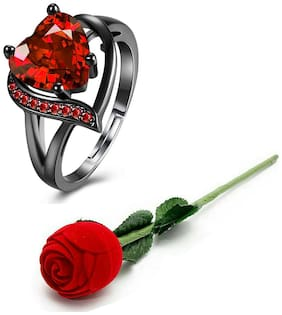 Black;Red Alloy Ring