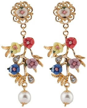 Jewels Galaxy Luxuria Exclusive Edition Splendid Florets Design AD Multicolor Brilliant Pearl Drop Earrings For Women/Girls