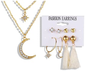 Jewels Galaxy Contemporary AD Gold Plated 4 Pairs Earrings with 1 Necklace for Women/Girls