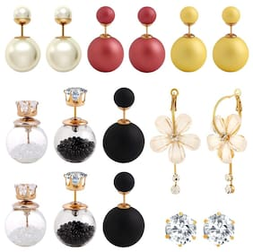Jewels Galaxy Stunning  Multicolor Double Ball And Floral Stud Earrings Combo - Set of 8